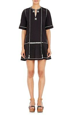 d058792d98 ISABEL MARANT ETOILE Black Cotton RELLY Embroidered Beach Mini Dress ...
