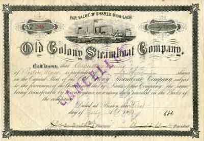 1893 Old Colony Steamboat Stock Certificate