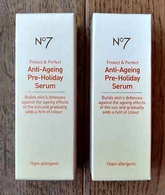 2 x Boots No7 Anti-Ageing Pre-Holiday Face Serum (2 x 30ml) Protect & Perfect