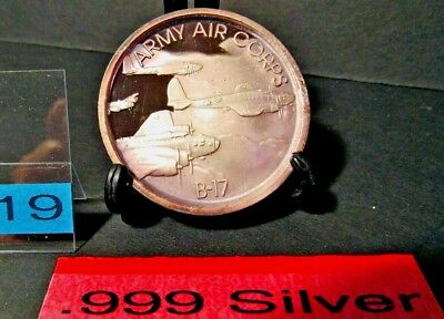 Army Air Corps  Boeing B-17C Flying Fortress  .999 Silver Medallion