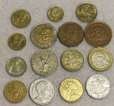 set of 15 different coins from Chile