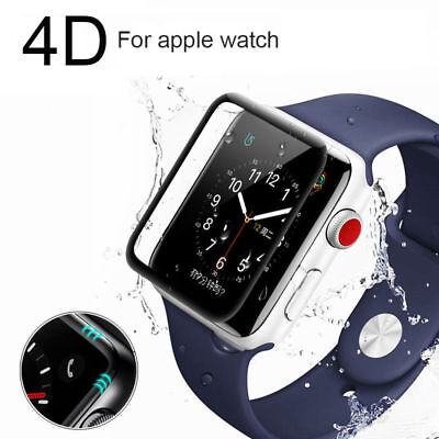 For Apple Watch Series 4 44mm Tempered Glass 4D Full Screen Protector Clear Case