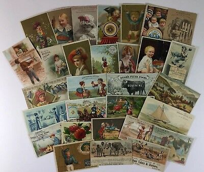 Lot of 30 Vintage Victorian Antique Advertising Trade Cards