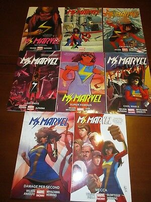Lot of 8 Ms. Marvel (2014-2017) graphic novels collecting issues 1-19, 1-24