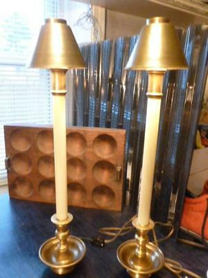 Pair Chapman Hollywood Regency Style Buffet Candlestick Lamps Brass Shades 3-way