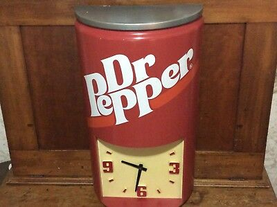 SUPER LARGE Vintage 1970s Dr. Pepper Clock...can with a clock combo..