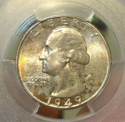 1949-D  PCGS  MS 66  Washington Quarter,  Brilliant with Luster,  Listed at $100