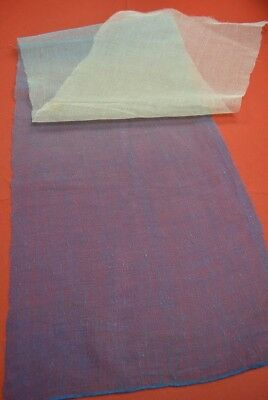 QD21/55 Vintage Japanese Fabric Linen Antique Boro Patch Indigo Blue 67.3""