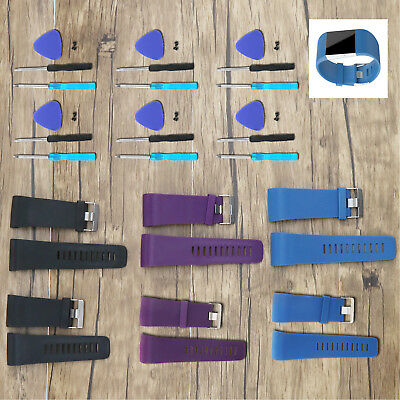 Silicone Wristband Replacement Strap for Fitbit Surge Black/Blue/Purple*Tool