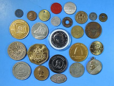 Lot of 25 Tokens & Medals Good For Space Magic Franklin Transit Coal Advertising