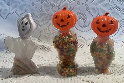 Vintage Rosen Candy Container Plastic Pumpkin Man & Ghost Lot of three