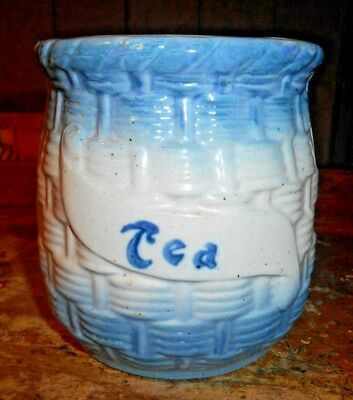Antique Blue & White Stoneware Basket Weave, Morning Glory Tea Canister/jar Nr