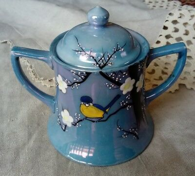 Antique Lusterware Made In Japan Hand Painted Sugar Pot, Birds & Blossoms, Star