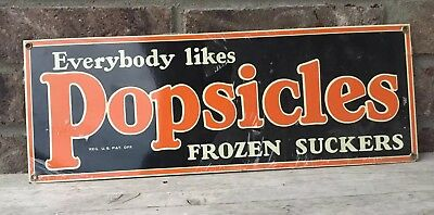 "PORCELAIN ""EVERYBODY LIKES POPSICLES"" METAL SIGN 18""x6 1/2"" Ande Rooney"