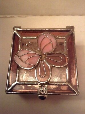 Hand Crafted Pink Glass Trinket Box Butterfly Stained Glass