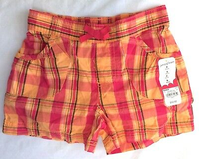 NWT Girls Plaid Shorts Size 6 Jumping Beans Orange Pink