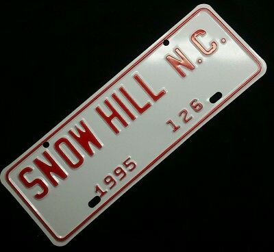 1995 SNOW HILL NC #126 NC License Plate City Tag Topper NOS Minty Never Used