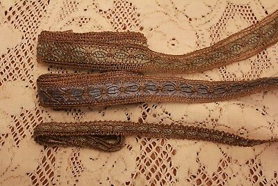 Antique Lame Metallic and Silk Thread Lace Trim Victorian Clothing Over 4 Yards