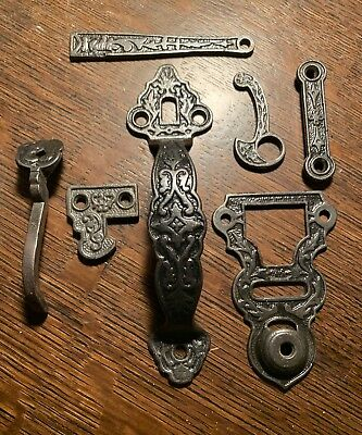 Antique Victorian Ornate Thumb Latch Set Complete Eastlake 1880's Cast Iron