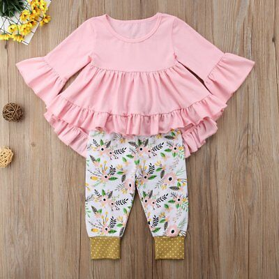 Fashion Infant Toddler Kids Baby Girls Clothes Tail Shirt Tops & Pants 2Pcs Set