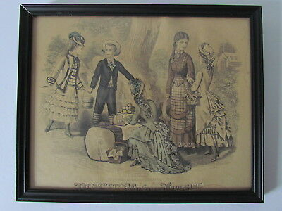 Antique Victorian 1800's Fashion Print Hand Colored Plate Engraving Framed