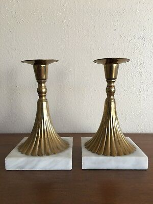 Pair Of Vintage Gold Brass Fluted Metal Candlestick Holders White Marble Base
