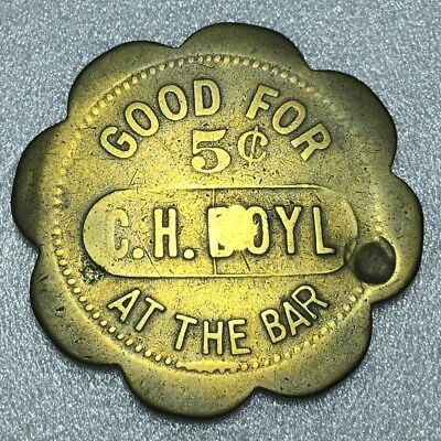 C.H. Doyl Maverick Brass Scalloped Bar Trade Token