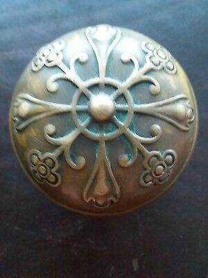 Antique Ornate Brass Bronze Door Knob - Victorian Eastlake Flower Floral