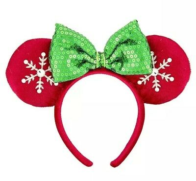 Disney Parks Holiday Christmas Red And Green Snowflake Minnie Ears Headband NEW