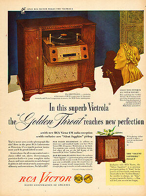 1946 vintage AD RCA VICTOR VICTROLA 'Crestwood' Radio Phonograph Console 050417