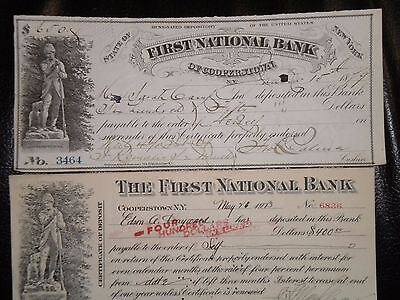 2 Checks from 1ST National Bank Of Cooperstown,N.Y. 1879 & 1920's FREE SHIPPING