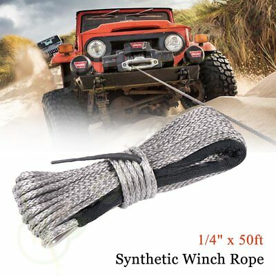6MM X 15M 50ft Synthetic Winch Rope Cable Line Recovery Cable 10000LBS 4WD Grey