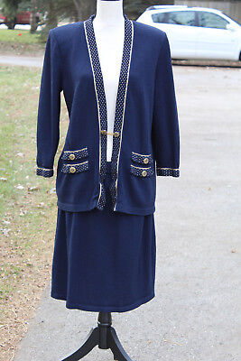GORGEOUS! St. John Collection By Marie GRAY Womens Jacket Blazer WITH SKIRT 16