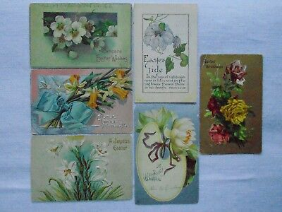 Antique Easter greeting postcards~ Lot of 6 Flowers c1905