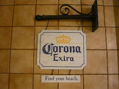 Corona Extra Find your beach Hanging Beer Bar real Wood Sign with metal pole