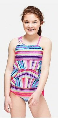 NWT Justice Girls Boho Stripe One Shoulder Tiered Tankini Swimsuit Choose Size!