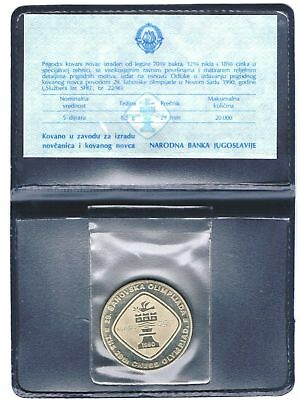 1990 Yugoslavia - 5 Dinara - Chess Olympiad - Proof - Blue Wallet, Coa - Rare!