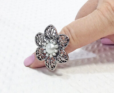 Vintage Silver Tone Filigree Adjustable Flower Ring with Pearl Bead Center
