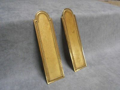 Pair of French Vintage Brass BEADED door PUSH FINGER Plates