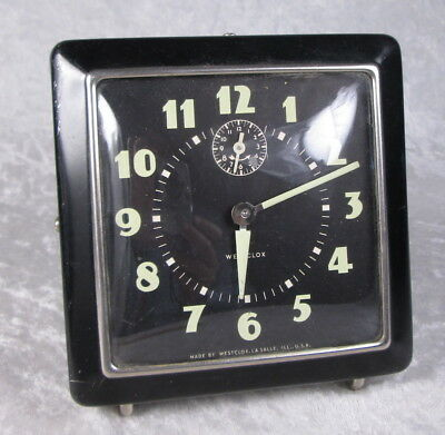 Vintage Westclox Square Clock Untested Sold As Is Not Working