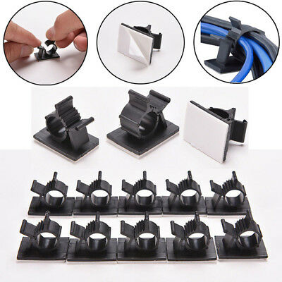 10x Cable Clips Black Adhesive Cord Management Wire Holder Organizer Clamp Hot