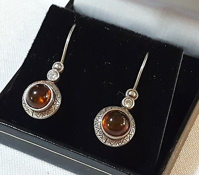 Sterling silver & amber vintage Art Deco antique pair of round earrings