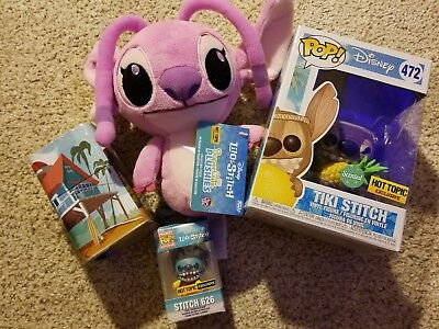 Funko Pop Lilo and Stitch Tiki Stitch Hot Topic exclusive w/ Plush Keychain Tin