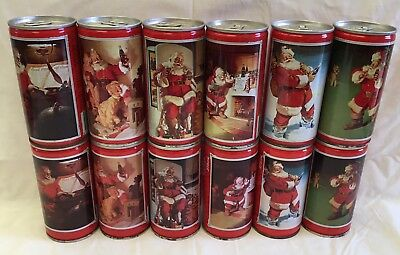 2 Mixed Set Of Older Steel Xmas Coca Cola Cans