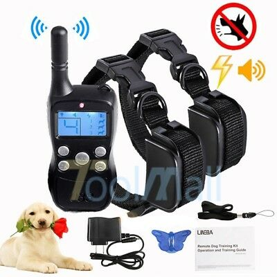 Pet Dog Training Collar Rechargeable Electric Remote LCD Shock Waterproof 1000Ft