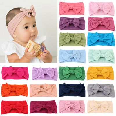 UK Soft Elastic Baby Headdress Kids Hair Band Girls Newborn Headband 21 Colours