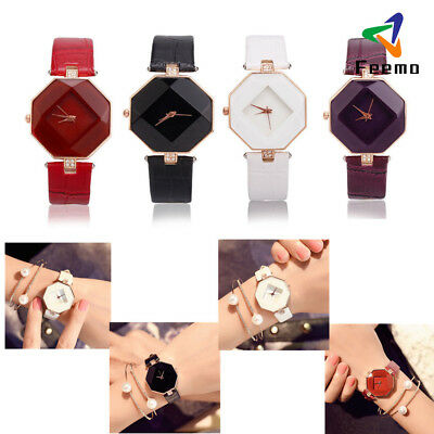 Casual Womens Fashion Leather Band Analog Quartz Diamond Wrist Watch Watches