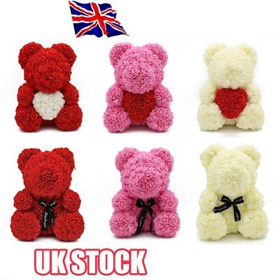 """15"""" Teddy Rose Bear /w Heart bow 2019 Valentine Birthday Gifts For Her L1"""