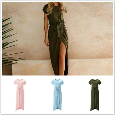 Short Sleeve Split Hem Maxi Dress Women Casual Loose Long Bow Sashes Dress LH