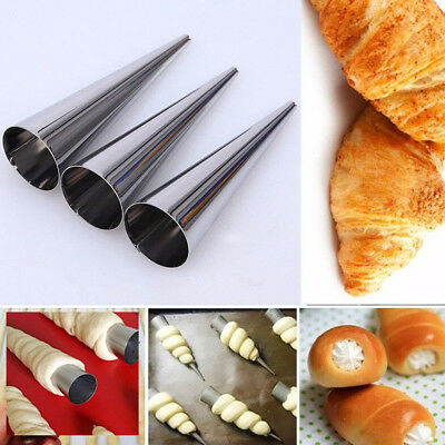 Haohan 12Pcs Stainless Steel Pastry Cream Mould Conical Tube Cone Roll AU
